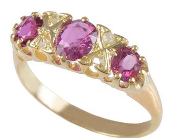 Pink Sapphire Ring and Diamond set in 18 KT Yellow Gold