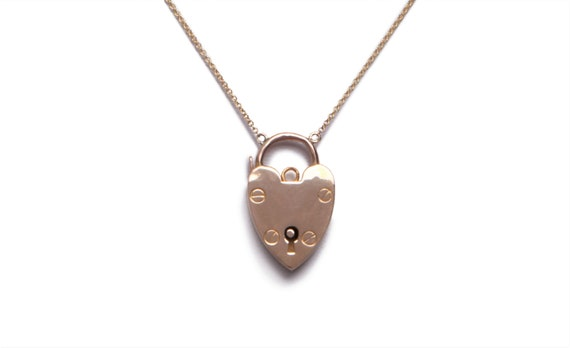Vintage Polished Gold Heart Padlock Necklace