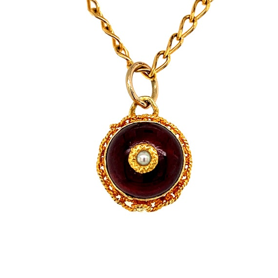 Antique Garnet and Pearl Button Necklace