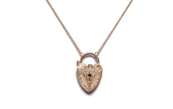 Vintage Engraved Heart Padlock Necklace
