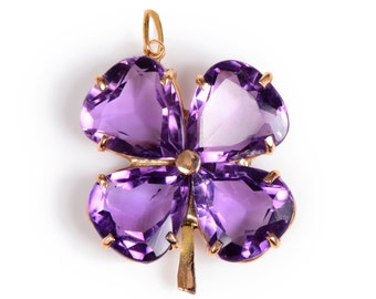 Amethyst and Gold Clover Pendant.