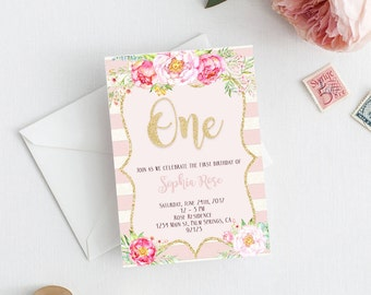 One Birthday Invitation, Printable One Birthday Invitation, Birthday Invitation, Pink One Invitation, Pink Invitation,