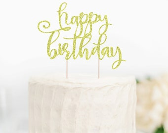 Glitter Happy Birthday CakeTopper, Glitter Cake Topper, Happy Birthday Cake Topper, Cake Topper, Birthday Cake Topper