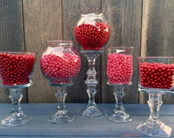 Set of 5 Glass Candy Buffet Jars | Candy Jars | Candy Buffet | Graduation Party | Baby Shower | Birthday Party | Wedding
