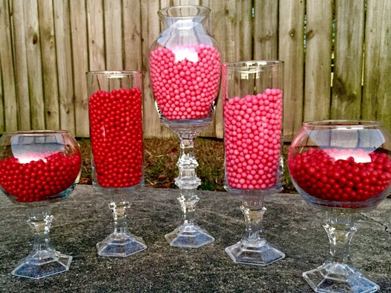 Set Of 5 Glass Candy Buffet Jars Candy Jars Candy Buffet Etsy