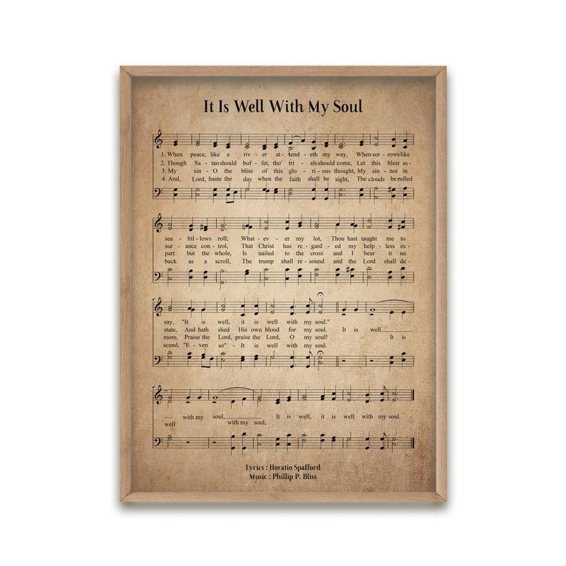 It Is Well With My Soul Vintage Hymn Wall Art Print Biblical Sheet Music Print Poster Wall Art Home Decor Large Wall Art Gicl\u00e9e Art