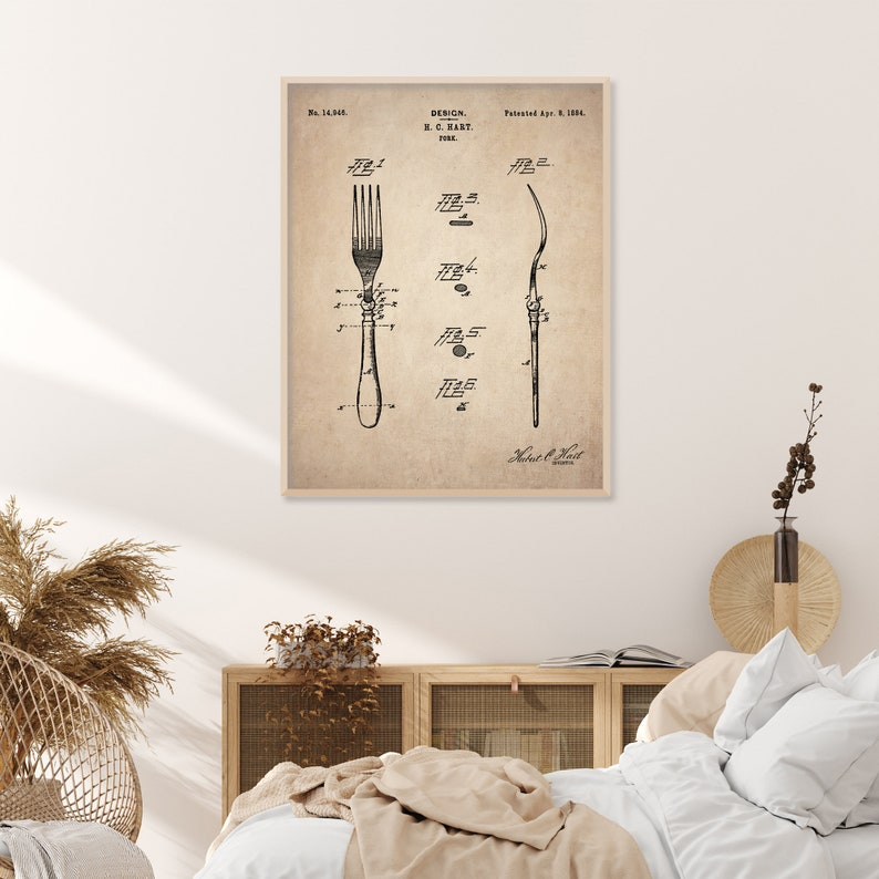 Fork Patent Unframed Vintage Wall Art Print Biblical Print Poster Wall Art Home Decor Large Wall Art Gicl\u00e9e Art farmhouse