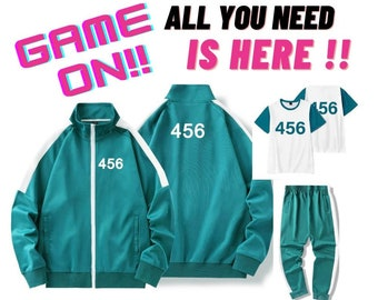 Squid Game Cosplay Costume Green Jacket and Pants,tracksuits Sweatshirt,t-shirt,Jumpsuit Halloween,456,001,067,218,gift for him,her,netflix