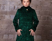 Luxury faux fur kids coat - astrakhan emerald. Exclusive eco furs by Tissavel (France)