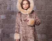 Luxury faux fur kids coat - astrakhan onyx. Exclusive eco furs by Tissavel (France)