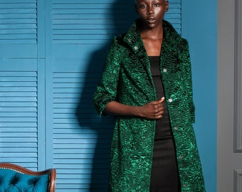 Luxury faux fur jacket - astrakhan emerald. Exclusive eco furs by Tissavel (France)