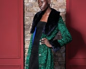 Luxury faux fur coat - astrakhan emerald. Exclusive eco furs by Tissavel (France)