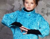 Luxury faux fur kids coat - astrakhan aquamarine. Exclusive eco furs by Tissavel (France)