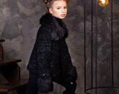 Luxury faux fur kids coat - astrakhan obsidian. Exclusive eco furs by Tissavel (France)