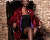 Luxury faux fur coat - astrakhan garnet. Exclusive eco furs by Tissavel (France)