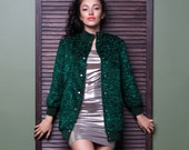 Luxury faux fur bomber - astrakhan emerald. Exclusive eco furs by Tissavel (France)