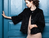 Luxury faux fur jacket - astrakhan obsidian. Exclusive eco furs by Tissavel (France)