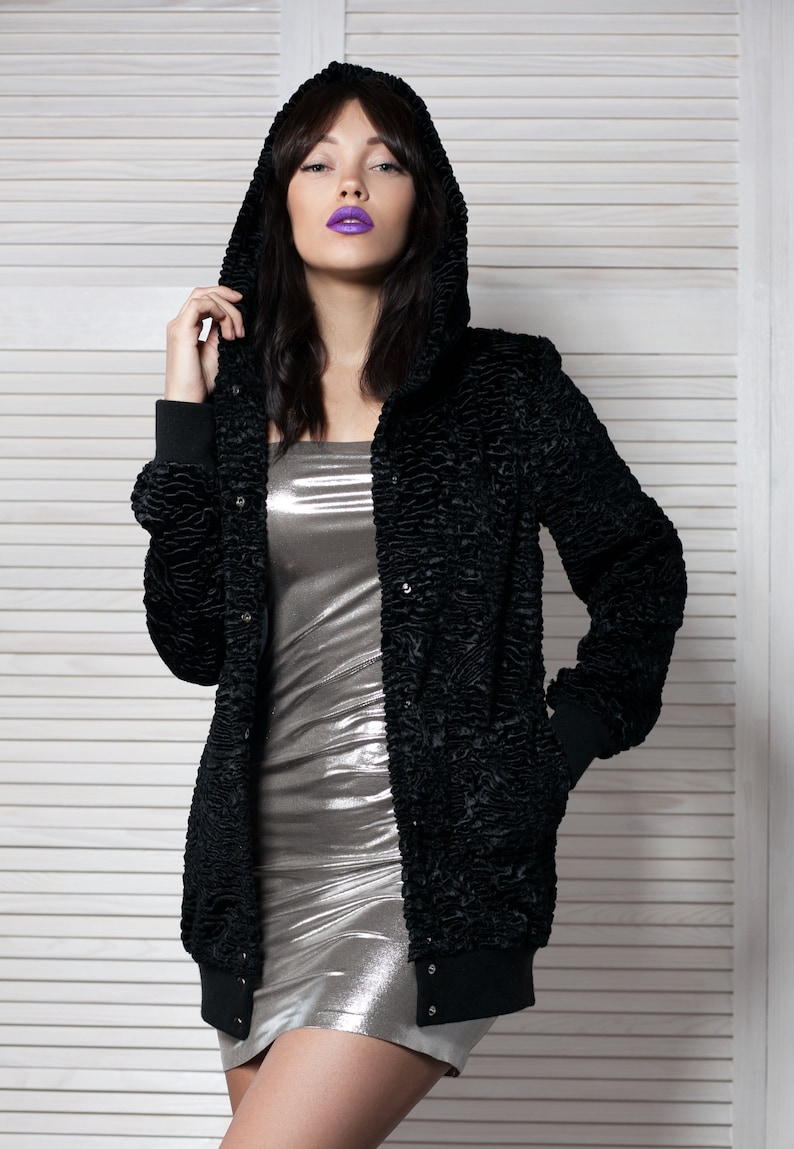 France astrakhan obsidian Exclusive eco furs by Tissavel Luxury faux fur bomber