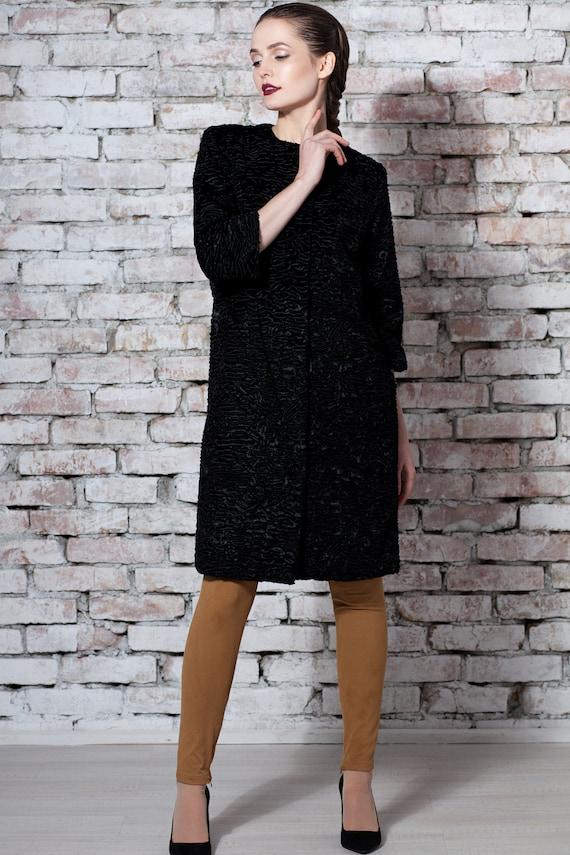 by faux Faux fur coat winter Luxury coats coat obsidian France Women fur coat Coat Tissavel fur astrakhan Exclusive fur fur Fake UgaaxBq