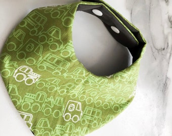 Green truck for toddlers / waterproof bib