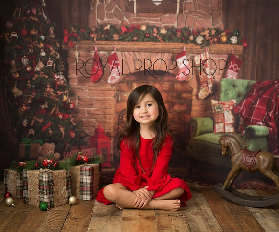 Christmas Digital Backdrop Christmas Tree With Fireplace Etsy