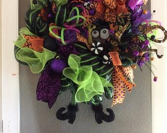 Halloween wreath,eyeballs,floral picks,Designer ribbon,unique,great for trick or treaters,door hanger,pumpkins, Whimsical,Rhinestone spiders