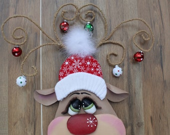 Reindeer wreath attachment, large attachment or tree decor, wall decor, Christmas decoration