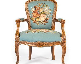 French Provincial Style Needlepoint Chair Blue