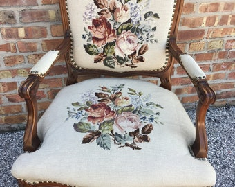 Awesome French Provincial Style Needlepoint Chair Cream