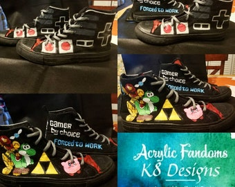bb7f2a35b3a243 Hand painted Nintendo NES Shoes