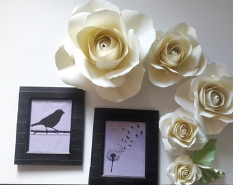 6 roses for Nursery wall decor, bedroom wall decor, giant paper flowers