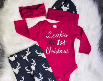 Baby Girls Coming Home Outfit,First Christmas,Customized Name,Red Bodysuit,Deer Leggings & Hat With Red Cuffs,Red Headband, Christmas Outfit