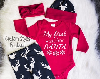 Baby Girls Coming Home Outfit, First Christmas, Red Long Sleeved Infant Bodysuit, Deer Leggings & Hat, Red Headband, Christmas Outfit