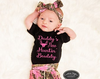 61839ac3df128 Baby Girl, Coming Home Outfit, True Timber Pink Camo Leggings, Hat &  Headband, Baby Girl Hospital Outfit, Black Bodysuit, Hunting Buddy