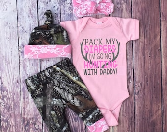 faee0d440ea04 Baby Girls Coming Home Outfit, Camo Leggings, Hat and Headband, Pink with  White Lace, Little Girls Country Outfit, Pink Bodysuit