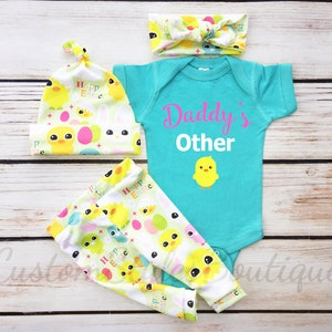 Baby Girls First Easter Outfit Easter Egg Leggings,Hat /& Headband With Pink Cuffs,Baby Girl Coming Home,My 1st Easter,Baby Girl Coming Home