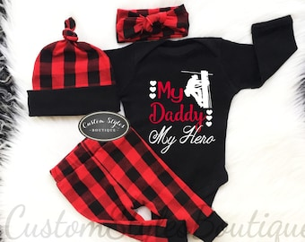 bfdf4a35b7876 Baby Girl Coming Home Outfit, Red and Black Buffalo Plaid Leggings,Hat &  Headband, Baby Girls Outfit, Coming Home Outfit, Linemen, Heroes