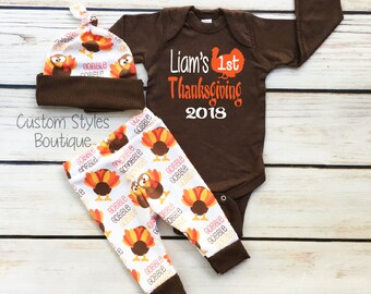 e3ffab6ab7d8 Baby Boys First Thanksgiving Outfit, Custom Name, Brown Infant Bodysuit,  Leggings And Hat With Turkeys, Baby Boy 1st Thanksgiving Outfit Set