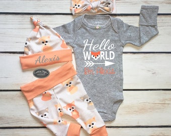 118260e05 Baby Girl Coming Home Outfit, Baby Fox Print, Baby Girl, Melon Cuffs,  Leggings, Hat and Headband, Gray Bodysuit, Hospital Set, Hello World