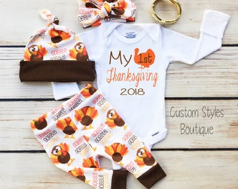 98c55d00a49 Baby Girls First Thanksgiving Outfit