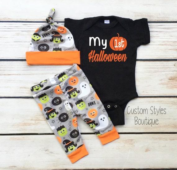 ffe61123c Baby Boys First Halloween Outfit Black Infant Bodysuit Grey | Etsy