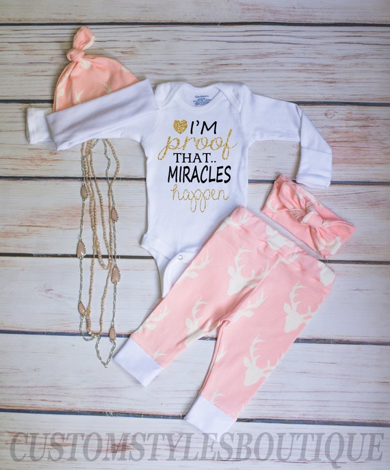 Baby Girl Coming Home Outfit Light Pink Deer Leggings Long  f4d072a0b