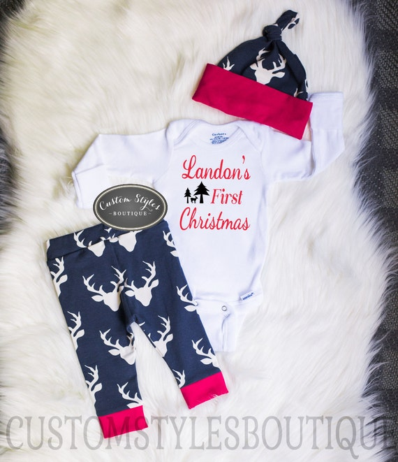 image 0 - Baby Boys First Christmas Outfit Red CuffsCustomized Etsy