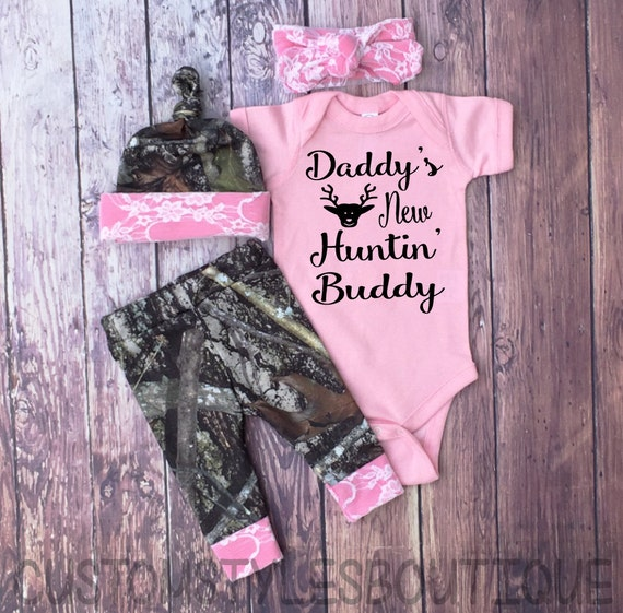 5609367a1 Baby Girls Coming Home Outfit Daddy's New Hunting Buddy | Etsy