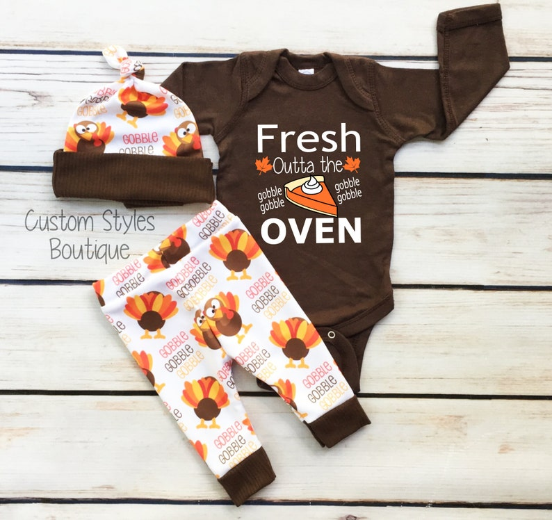 Baby Boy/'s Thanksgiving Outfit Set Brown Infant Bodysuit Coming Home Baby Boy Leggings And Hat With Turkeys Baby Boy Coming Home Outfit