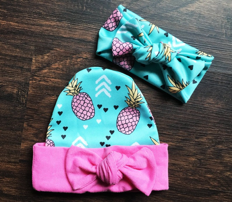 Baby Girl Summer Outfit Father/'s Day Gift First Father/'s Day Teal Shorts With Pink Pineapples /& Cuffs Hat and Headband Baby Girl Shorts
