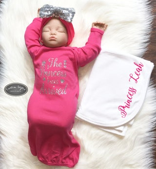 Baby Girl Coming Home Gown, The Princess Had Arrived, Hot Pink Sleep Sack, Silver Glitter, Hot Pink Sequin Bow,Receiving Blanket,Custom Name