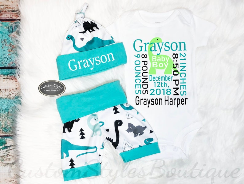 8cc4c3fd185 Baby Boy Birth Announcement Personalized Outfit Dinosaur