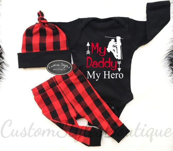 ee435ab1c48f Baby Boy Coming Home Outfit Black   Red Buffalo Plaid