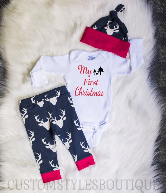 image 0 - Baby Boys Coming Home Outfit My First Christmas Red Cuffs Etsy